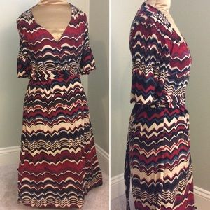 Multicolored Zigzag Print Wrap Dress